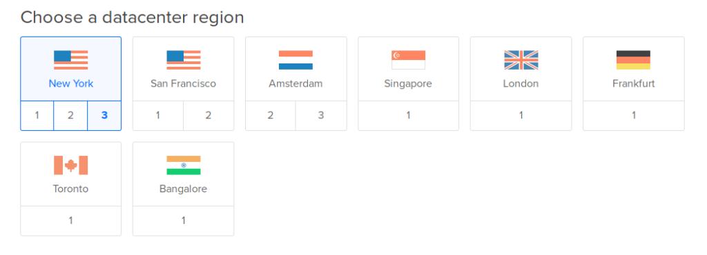 DigitalOcean datacenters in New York, San Francisco, Amsterdam, Singapore, London, Frankfurt, Toronto and Bangalore