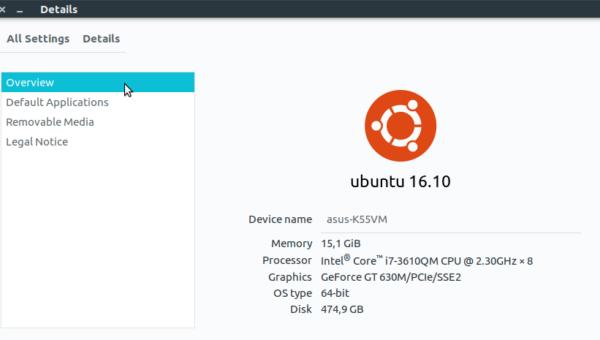 Ubuntu 16.10 System Info