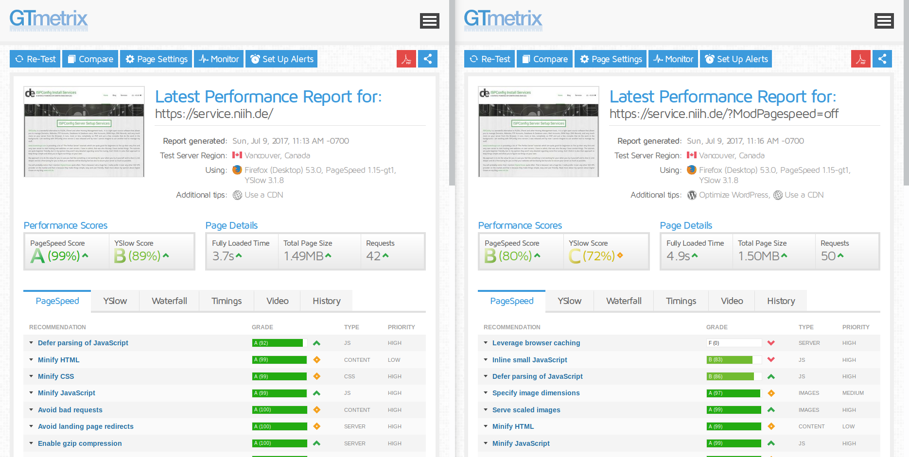 How to get a great Web Site performance on GTMetrix with Mod Pagespeed and caching