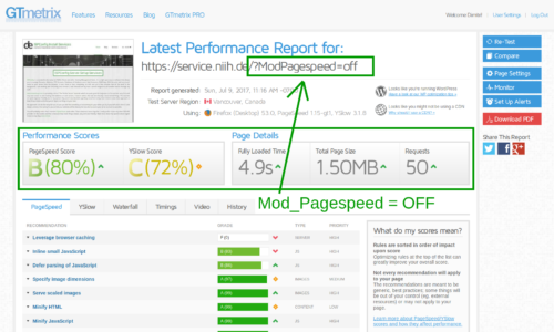 service.niih.de 80/72 score – performance report from GTMetrix with caching and mod pagespeed disabled