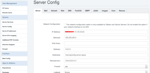 06 – ISPConfig Master Server IP Adresse einstellen – Der perfekte ISPConfig Multi Server mit Webserver Mailserver Datenbank Server NS1 Server und NS2 Server