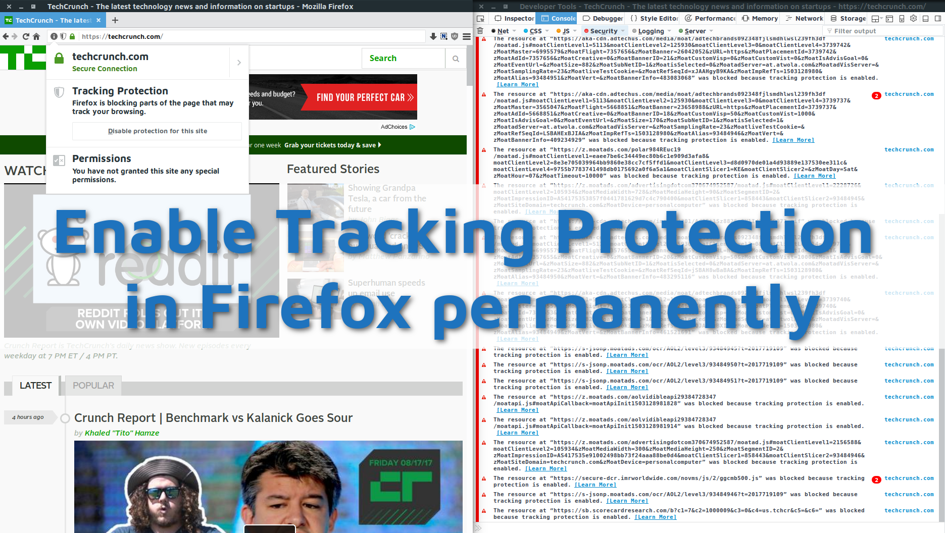 How to enable permanent Tracking Protection in Firefox